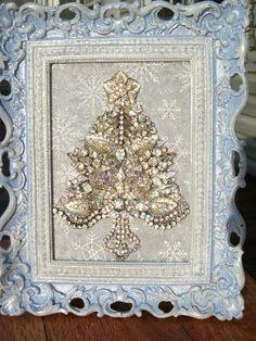 Vintage Rhinestone Jewelry Christmas Tree