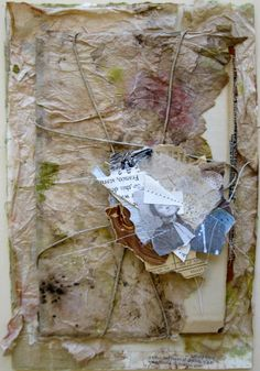 """""""An Archived Life"""" (Random Stacks Series - stitched collage, string, tea & ink stained papers on book cover."""