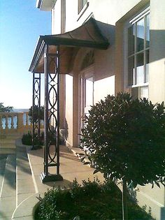 Modern porches, stainless steel and acrylic glass canopies, door Front Door Awning, Front Door Decor, Door Canopy Porch, Porches, Porch Posts, Diy Porch, Canopy Design, Deck With Pergola, Canopy Outdoor