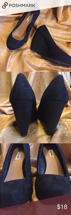 """Zigi Soho Platform Wedges, Black Faux Suede 4"""" Faux Black Suede wedges ! Very cute with a cushion instep wedge has a curve that gives this show some more style !  Smoke-free pet free home Zigi Soho Shoes Wedges"""