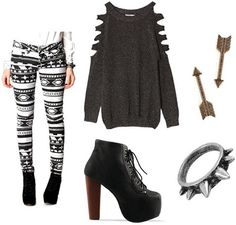 If you're a street style junkie like I am, you've seen many outfits similar to this before! Geometric-patterned jeggings will look urban and hip with an edgy cut-out tunic sweater. Keep the trendy vibe going with JC Litas and a spiky ring. Finish with simple earrings.