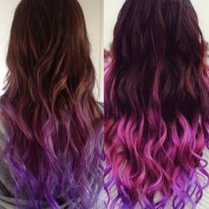 Purpe dip dye for colorful hair looks 613a white blonde extensions for colorful hair colors DIY 613a white blonde etensions for brown pink purple wavy hairstyles looks