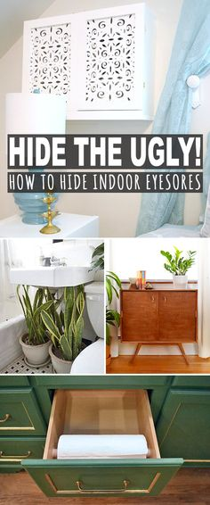 Hide the Ugly (How to Hide Indoor Eyesores)! • Come check out this post to see all the projects, tips and tutorials from bloggers around the web. Hide cords, a/c units, pipes, popcorn ceilings & pretty much any eyesore you can think of! #hideindooreyesores #hidetheugly #hideclutter #hideuglystuff #hideeyesores #diystorage