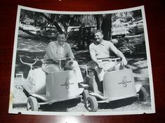 1950's PHOTO OF TWO BEAUTIFUL GO FAR GOLF CARTS WITH A BEAVER MASCOT | eBay