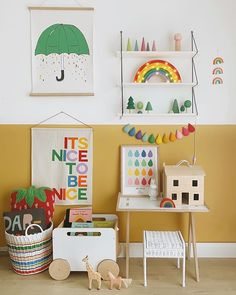 Brightening up January 🌈Our teeny mustard playroom is where all the bright rainbowy stuff lives. And as you've all been so amazing and are… Childrens Room Decor, Kids Decor, Deco Cafe, Rainbow Theme, Toy Rooms, Sewing Toys, Home And Deco, Kid Spaces, Kids Bedroom