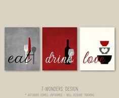 Kitchen Wall Art Print Set - Eat Drink Love - Rustic Red, Grey, Black, Cream // Modern Kitchen Decor // Set of Many Sizes // Unframed - Kitchen Ideas