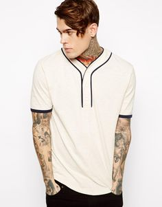 ASOS T-Shirt With Baseball Placket And Slubby Jersey