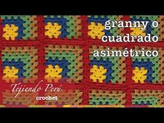 Granny square o cuadrado asimétrico tejido a crochet en varios colores de lana! - YouTube Granny Squares, Joining Crochet Squares, Granny Square Häkelanleitung, Granny Square Crochet Pattern, Crochet Granny, Crochet Stitches, Crochet Patterns, Love Crochet, Diy Crochet