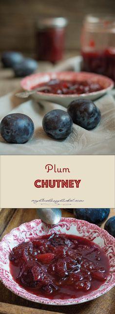 Plum and Pear Chutney, a wonderful combination of sweet fruit, acidic vinegar and different spices create this delicious chutney. Plum Chutney, Chutney Recipes, Vegan Gluten Free, Vegan Vegetarian, Plum Sauce, Jam And Jelly, Preserves, Vinegar, Recipes