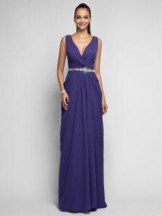 Prom Dresses, V-neck Sweep/Brush Train Chiffon Evening Dress - USD $ 109.99