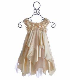 Biscotti Little Girls Holiday Dress Glitter Champagne;