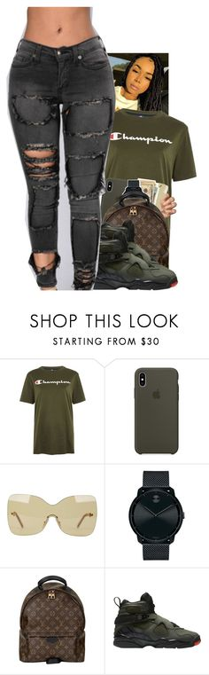 """""""Untitled #2395"""" by txoni ❤ liked on Polyvore featuring Champion, Fendi, Movado and Louis Vuitton"""