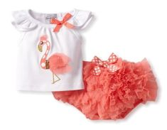 Mud Pie Baby-Girls Newborn Flamingo Diaper Cover Set (cute baby clothes for girls) Baby Girl Fashion, Kids Fashion, Latest Fashion, Short Outfits, Girl Outfits, Ruffles, Chiffon Ruffle, Baby Girl Newborn, Baby Girls