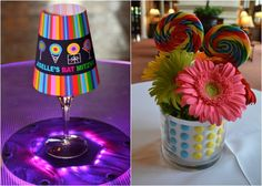 Candy Bat Mitzvah Centerpieces - LED Lights, Flowers and Candy Buttons {Planner: Party Perfect, Photo: A Magic Moment} - mazelmoments.com