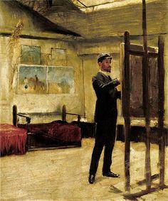 "spoutziki-art: "" Paul Vágó, Self-portrait in the Studio, "" Artist At Work, Self, Museum, Studio, Gallery, Painting, Beautiful, Graphic Novels, Artists"