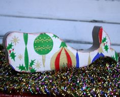 Fish of the Sea wooden whale with vintage Christmas paper