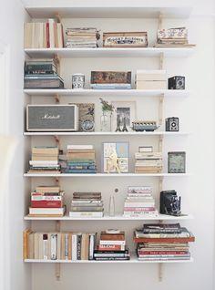 Bookshelves, Bookcase, Vintage Bookshelf, Vintage Paris, Beige Walls, Scandinavian Home, Elle Decor, Built Ins, Elsa Beskow