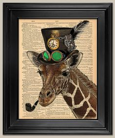Steampunk Giraffe. Upcycled vintage book page art print. Animal Print on book page. Fits 8x10 frame.