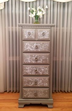 """Lingerie chest painted gray with """"lace"""" drawer fronts by Twice Loved Furniture Creations: furniture makeover grey Ideas How to DIY Lace Painted Furniture - The ART in LIFE Lace Painted Furniture, Decoupage Furniture, Refurbished Furniture, Recycled Furniture, Paint Furniture, Furniture Projects, Furniture Makeover, Cool Furniture, Furniture Stores"""