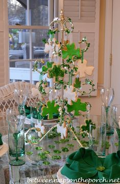 Patrick's Day Table Setting, shamrock cookie tree and four leaf cover napkin fold.St Patrick s Day Tree Centerpieces, Table Decorations, Happy St Paddys Day, Erin Go Braugh, St Patricks Day, Saint Patricks, Luck Of The Irish, Stores, Porch Decorating