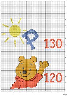 Solo Patrones Punto Cruz (pág. 204)   Aprender manualidades es facilisimo.com Cross Stitch For Kids, Cross Stitch Boards, Cross Stitch Kits, Height Chart, Disney Boys, Knitting Charts, Cross Stitching, Winnie The Pooh, Crochet