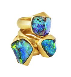 CUBED COLLECTION ~ Pyramid Stacked Rings, contemporary asymmetrical Boulder opal rings set in 20k yellow gold