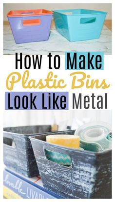 Full tutorial! Transform dollar store plastic bins and containers to look like real galvanized metal! Simple project with supply list included.
