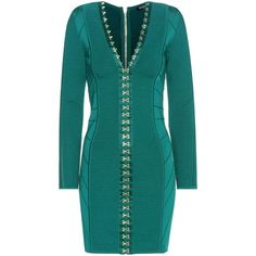 Balmain Body-Con Dress ($3,020) ❤ liked on Polyvore featuring dresses, green, blue dress, balmain dress, balmain, body conscious dress and body con dress