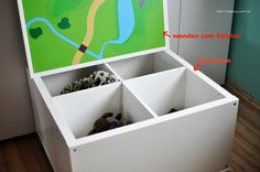 IKEA Kallax Hack for the children's room: DIY game table with storage space - Kinderzimmer Diy Kallax, Ikea Kallax Hack, Kallax 5x5, Nursery Storage, Diy Storage, Storage Spaces, Storage Ideas, Ikea Kids, Ikea Kallax Series