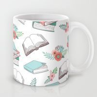 Books & Flowers Print Mug
