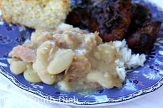 Southern Creamy Butter Beans - Large lima beans, or butter beans as we refer to them in my part of the Deep South, have a lovely creamy texture, and with this mix of seasonings, are just pure comfort food. Pictured here served as a side, over rice, with my Cajun Sticky Chicken and Skillet Cornbread.