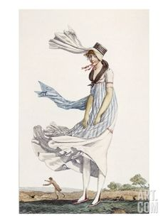 Out walking in the wind. A Ladies Summer Promenade Dress, 1800 (Coloured Engraving)  Philibert Louis Debucourt
