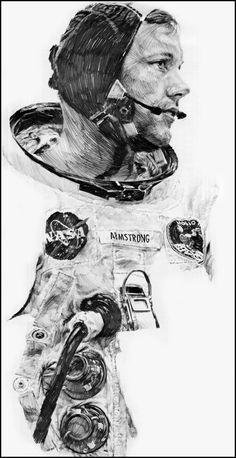 Pencil illustration by Paul Calle, one of eight artists chosen to be in the NASA Art Program in Mr. Calle documented NASA space missions through his detailed sketches until Apollo Space Program, Nasa Space Program, Programa Apollo, Pencil Illustration, Space Illustration, American Illustration, Amazing Drawings, Artist Pencils, Pictures To Paint