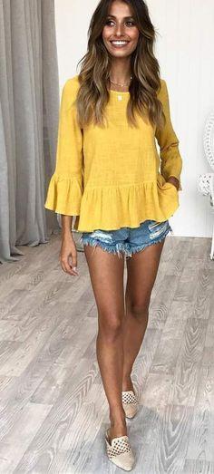 #mustard #top #denim #shorts And #beige #flats #summerstyle #summerfashion #summeroutfit #womensfashion #summer