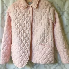 White stag quilted jacket Gently worn pretty pink quilted jacket. Size L with snap front and front pockets. Pink flower print inside. White Stag Jackets & Coats