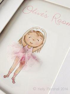 Little Dancer...3D Wall Art...Ballerina...Tulle Skirt...Children and Nursery Prints...by Sweet Cheeks Images