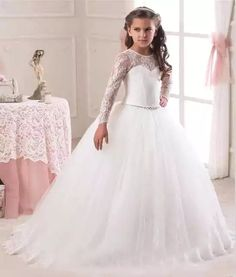 Cheap communion dresses, Buy Quality flower girl dresses directly from China holy communion dresses Suppliers: 2017 Lace Holy Communion Dresses Pageant Ball Gowns For Girls vestidos de primera comunion Flower Girl Dresses With Long Sleeve Princess Flower Girl Dresses, Princess Ball Gowns, Flower Dresses, Flower Girls, Princess Wedding, Princess Girl, Cheap Wedding Dress, Wedding Party Dresses, Wedding Dresses For Kids