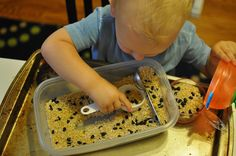 Sensory bins for toddlers - rice, daal and black beans.