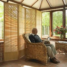 Wonderful screening from the Matsu Natural 4 panel screen - here shown in a conservatory.