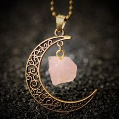 Crescent Moon Stone Necklace - Style 2