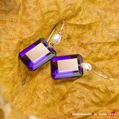 18k Solid Gold Pearl Lollipop Earwire Emerald Cut  Amethyst Earrings onesilversmith art studio