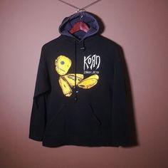 Vintage Korn Issues Hoodie Hooded Sweatshirt Jumper Blouse Black S / M Rock