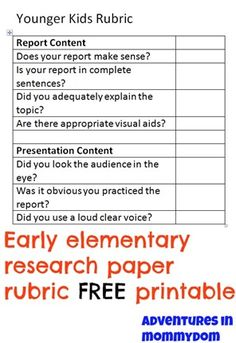 Nd Grade Research Project Cute And Short Rubric For This Project