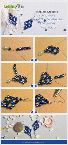 Pandahall Tutorial on How to Make Elegant Blue Pearl Beaded Drop Earrings from LC.Pandahall.com