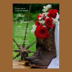 Rustic Roses Country Wedding Invitation . Now this is how you do cowboy boots in a wedding....very classy