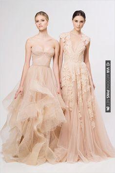 Reem Acra peach wedding dresses | CHECK OUT MORE IDEAS AT WEDDINGPINS.NET | #bridesmaids