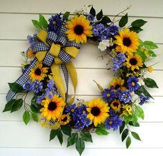Summer Wreath Sunflower Wreath Grapevine by DeliaKateDesigns