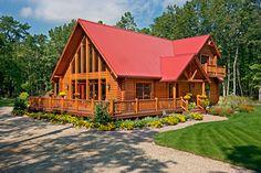 Stunning log cabin with wraparound deck features Pella ProLine windows. Log Homes Exterior, Rustic Houses Exterior, Log Cabin Living, Log Cabin Homes, Log Cabins, Mountain Cabins, Metal Building Homes, Building A House, Metal Roofing Prices