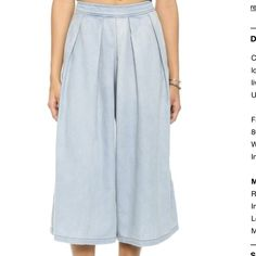 re:named denim culottes Cotton/polyester denim culottes in great condition. re:named Pants Wide Leg