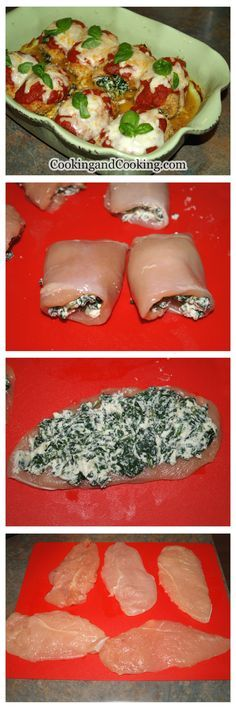 Spinach Chicken Roll Recipe: ngredients 980 g boneless skinless chicken breasts, butterfly style (about 8 pieces) 9 cups chopped spinach, about 450 g 4 garlic cloves, finely chopped 3/4 cup plain bread crumbs 1 tablespoon grated Parmesan cheese 1 cup ricotta cheese 1 egg, beaten shredded mozzarella cheese marinara sauce fresh basil for garnish 1 tablespoon dried oregano leaves 1/4 teaspoon turmeric powder vegetable oil salt & black pepper to taste